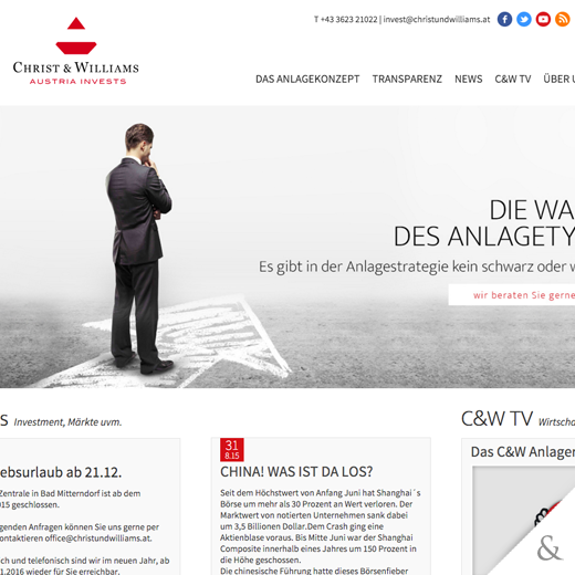 Christ & Williams – Austria Invests  - Die Website